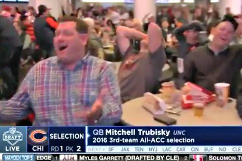 VIDEO: Bears fans react to Trubisky pick