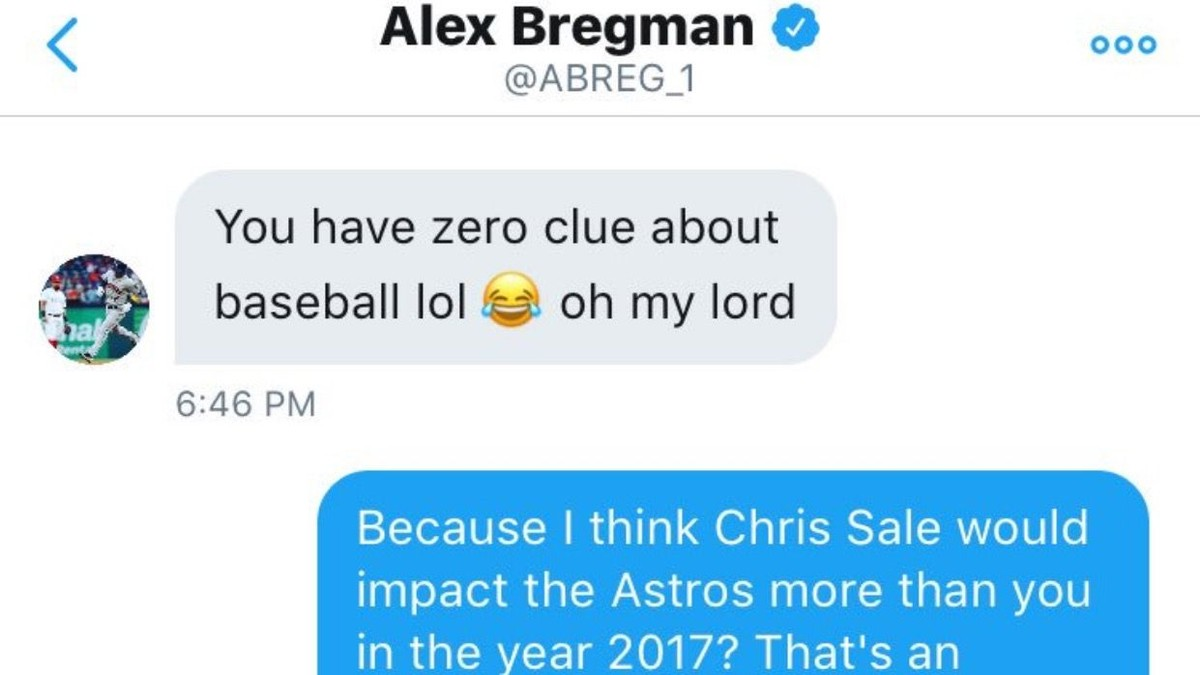 Alex Bregman DMs twitter follower about rumors, deletes twitter, comes back
